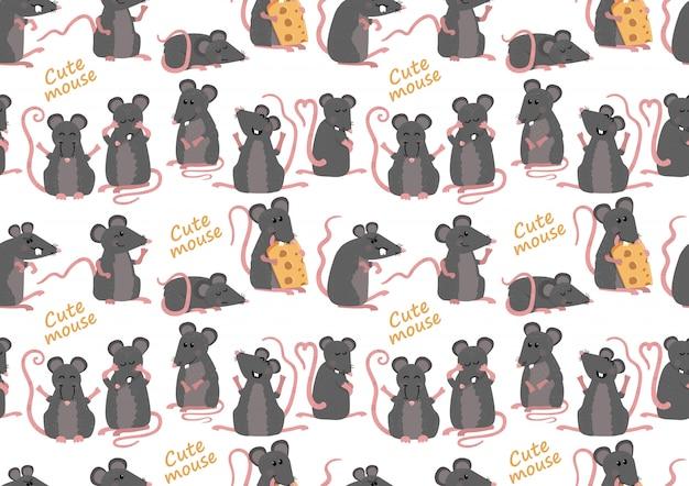 Nahtloses muster mit niedlichen mäusen Premium Vektoren