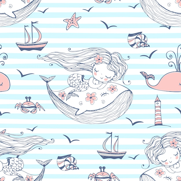 Nahtloses muster mit niedlichen meerjungfrauen, die auf walen auf einem gestreiften hintergrund schlafen. Premium Vektoren