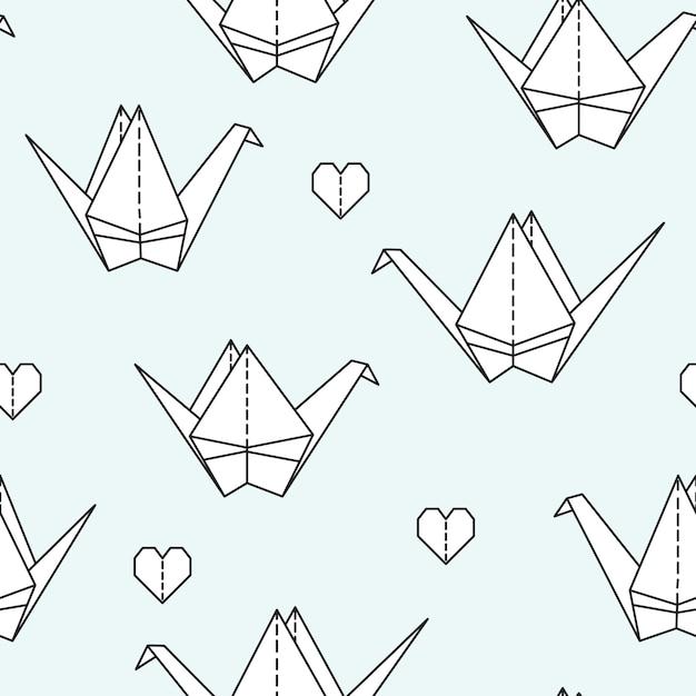 Nahtloses muster mit origamivögeln. Premium Vektoren