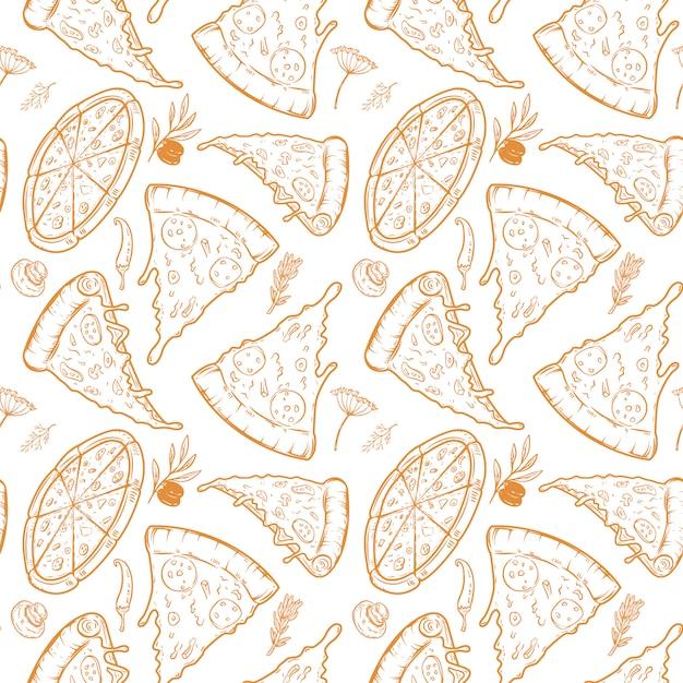 Nahtloses muster mit pizza, kräutern, pilzen, oliven. illustration Premium Vektoren
