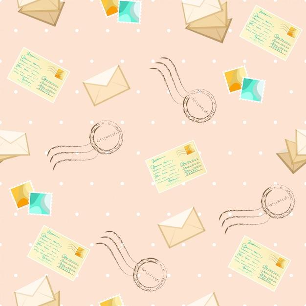 Nahtloses muster mit postkarten und umschlag Premium Vektoren