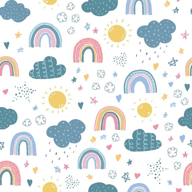 Nahtloses muster mit regenbogen und wolken Premium Vektoren