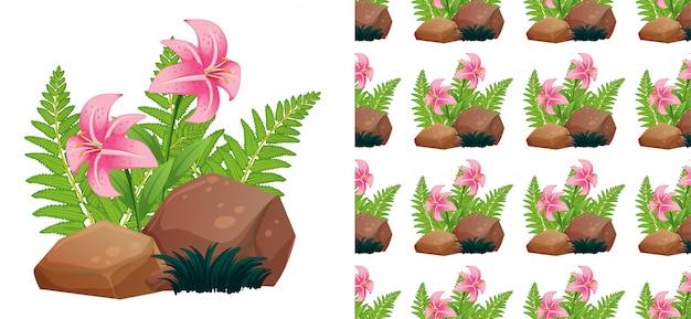 Nahtloses muster mit rosa lilie blüht auf steinen Kostenlosen Vektoren