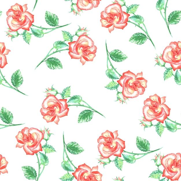 Nahtloses muster mit roten rosen und grünen blättern Kostenlosen Vektoren