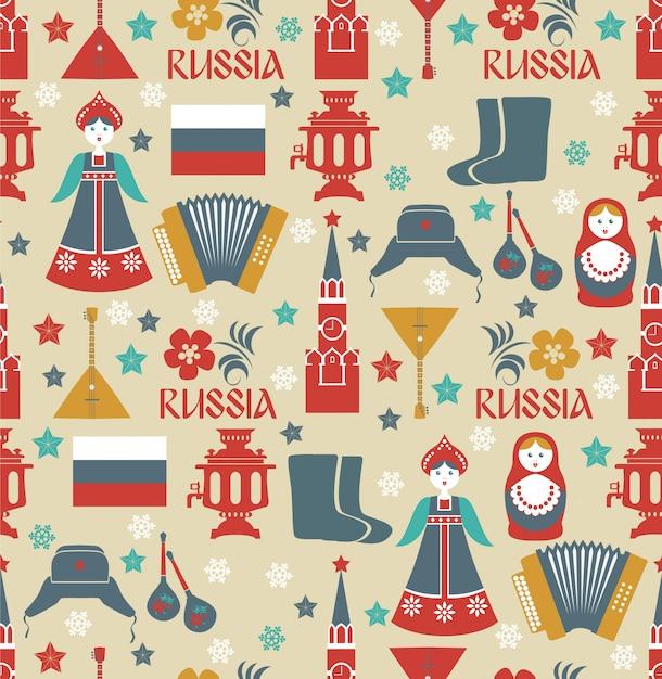 Nahtloses muster mit russischen symbolen. Premium Vektoren