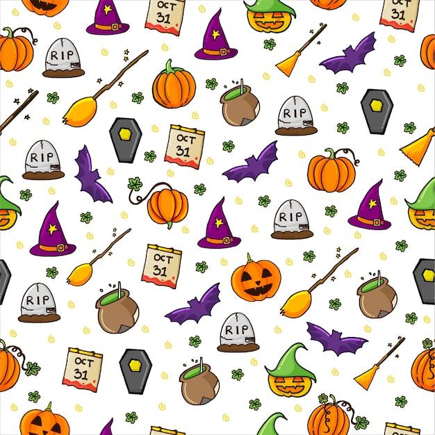 Nahtloses muster mit satz halloween-hintergrund mit dünnem umriss. handgemalt . doodle halloween-party. Premium Vektoren