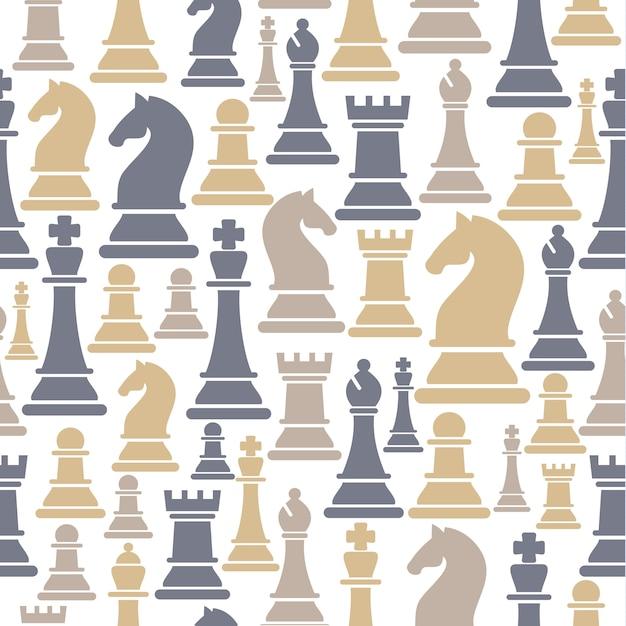 Nahtloses muster mit schachfiguren Premium Vektoren