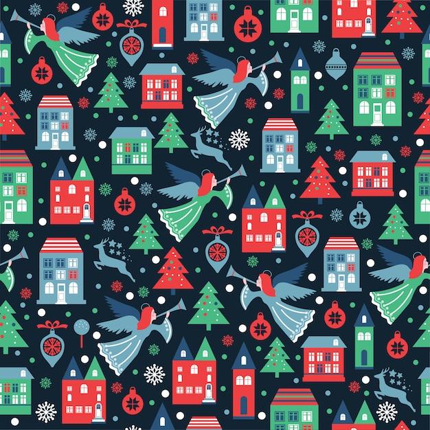 Nahtloses muster mit schneeflocken und engeln für weihnachtsverpackung, gewebe, tapete. Premium Vektoren