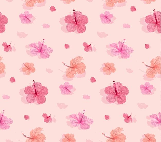 Nahtloses muster mit schönem blühendem hibiscus Premium Vektoren