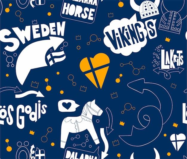 Nahtloses muster mit schweden Premium Vektoren