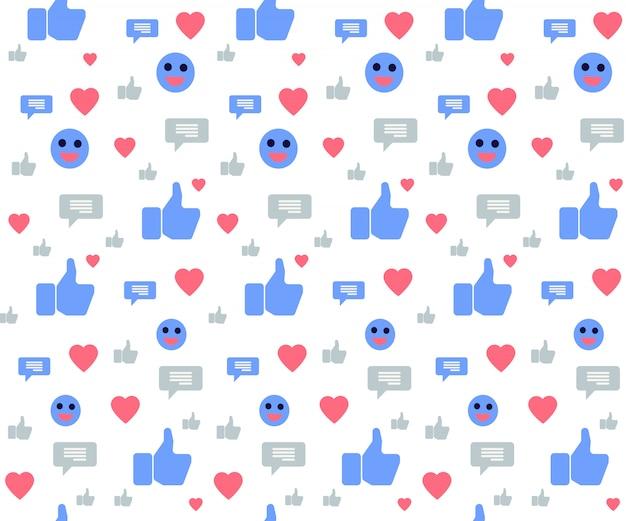 Nahtloses muster mit social media-ikonen auf weiß Premium Vektoren