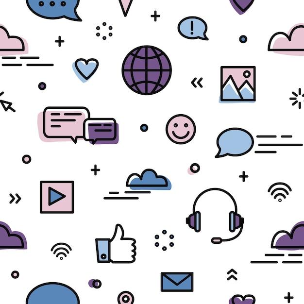 Nahtloses muster mit sozialen netzwerken, globaler online-kommunikation, instant messaging-symbolen auf weiß Premium Vektoren