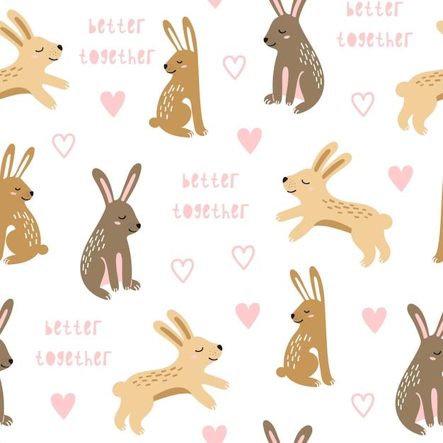 Nahtloses muster mit springenden kaninchen. Premium Vektoren