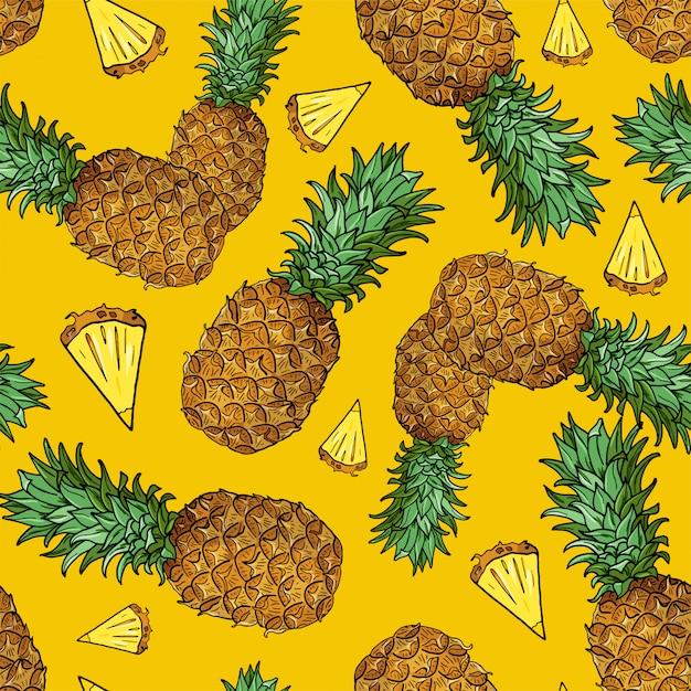 Nahtloses muster mit stück tropischen früchten auf gelb Premium Vektoren