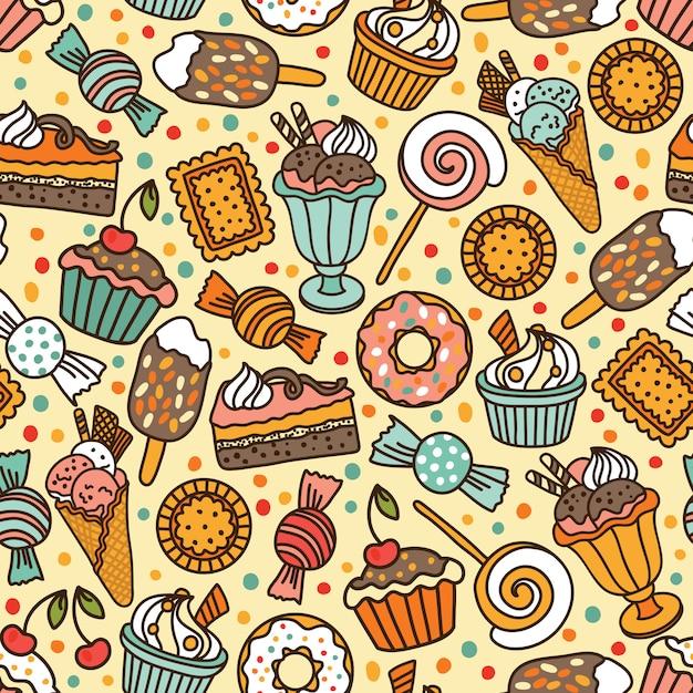 Nahtloses muster mit süßigkeiten und bonbons Premium Vektoren