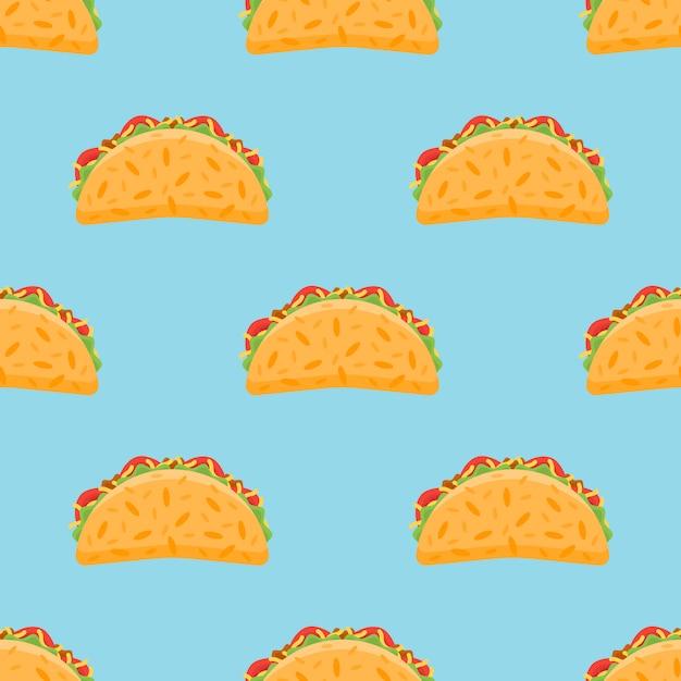 Nahtloses muster mit taco. Premium Vektoren