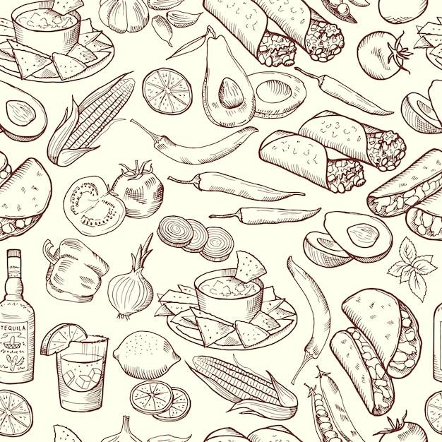 Nahtloses muster mit traditionellem mexikanischem lebensmittel Premium Vektoren