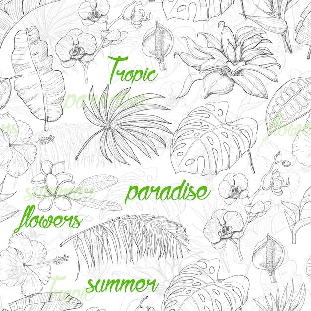 Nahtloses muster mit tropischen anlagen und blumen Premium Vektoren