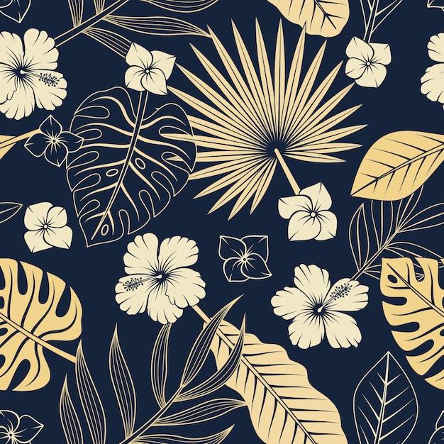 Nahtloses muster mit tropischen blättern und blüten. eleganter exotischer hintergrund. Premium Vektoren