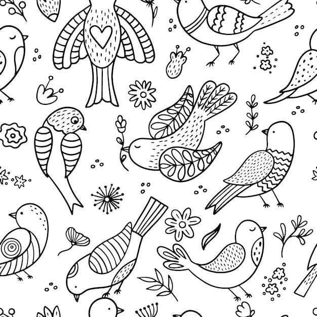 Nahtloses muster mit vögeln Premium Vektoren