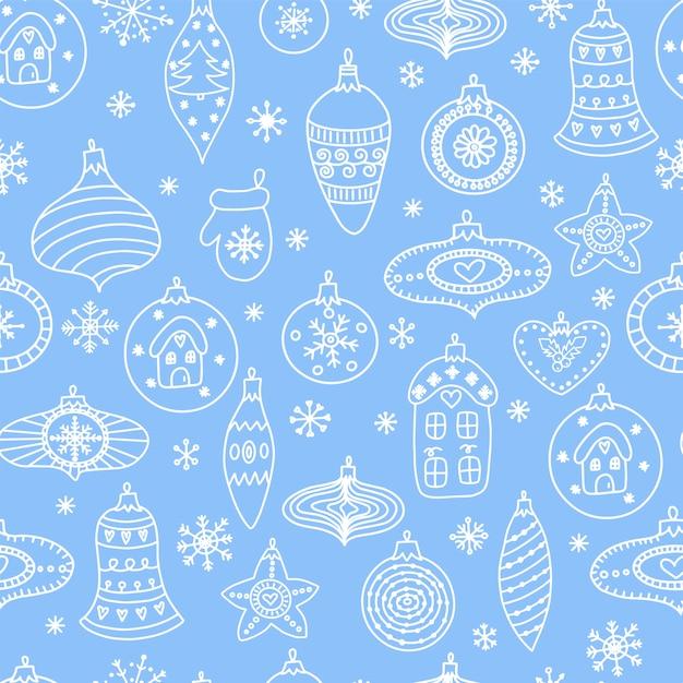 Nahtloses muster mit von hand gezeichneten weihnachtsballspielwaren Premium Vektoren