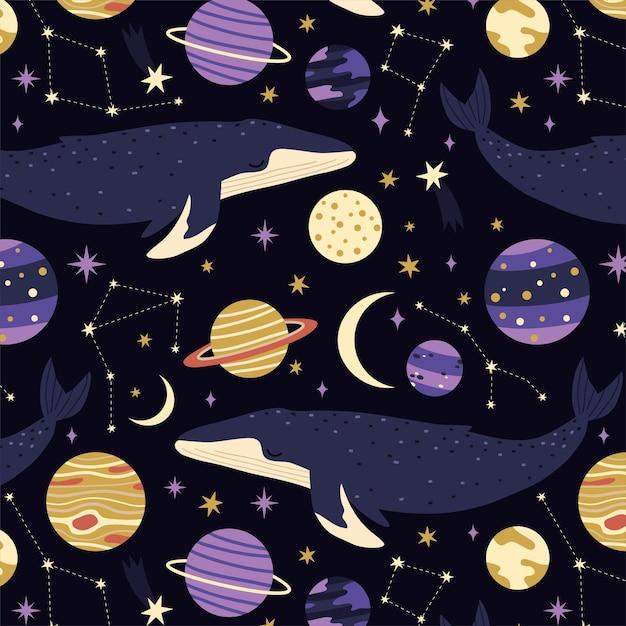 Nahtloses muster mit walen, planeten und sternen auf blauem hintergrund Premium Vektoren