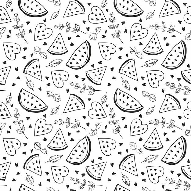 Nahtloses muster mit wassermelonen und minze. schwarzweiss-illustration. Premium Vektoren
