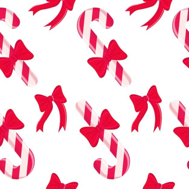 Nahtloses muster mit weihnachtsbonbongestaltungselementen. Kostenlosen Vektoren