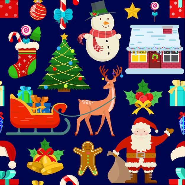 Nahtloses muster mit weihnachtsdekoration Premium Vektoren