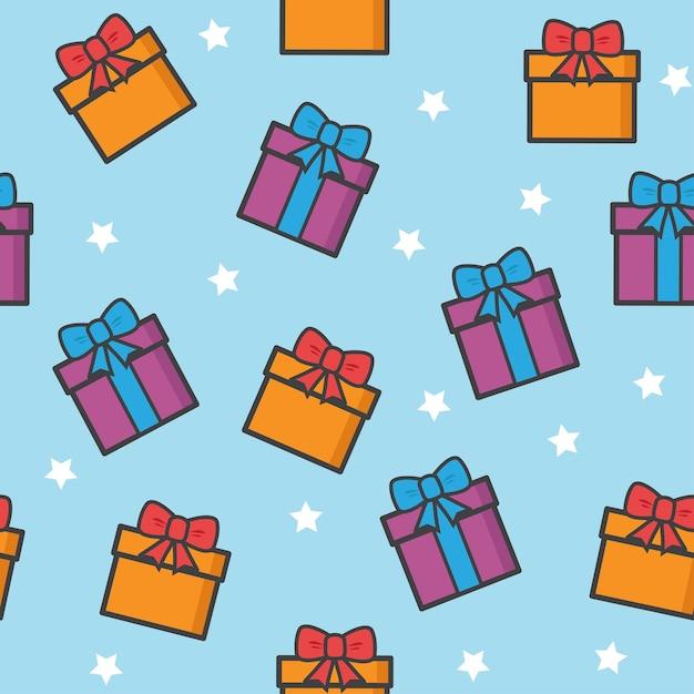 Nahtloses muster mit weihnachtsgeschenken und sternen Premium Vektoren