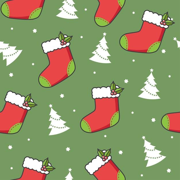 Nahtloses muster mit weihnachtssocken und -bäumen Premium Vektoren