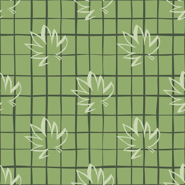 Nahtloses muster mit weißen umriss-cannabisblättern auf grünem kariertem hintergrund Premium Vektoren