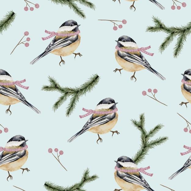 Nahtloses muster mit winteraquarellvögeln und -zweigen Kostenlosen Vektoren