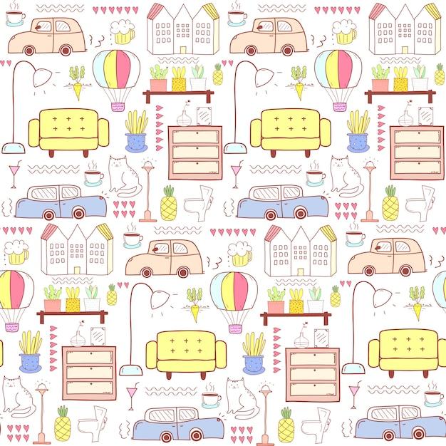 Nahtloses muster mit wohnmöbeln Premium Vektoren