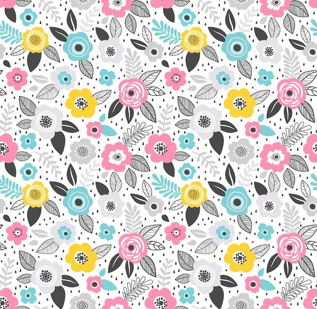 Nahtloses muster. nettes muster in der kleinen blume. kleine blaue, rosa und gelbe blüten. weiß . ditsy moderner blumenhintergrund. Premium Vektoren