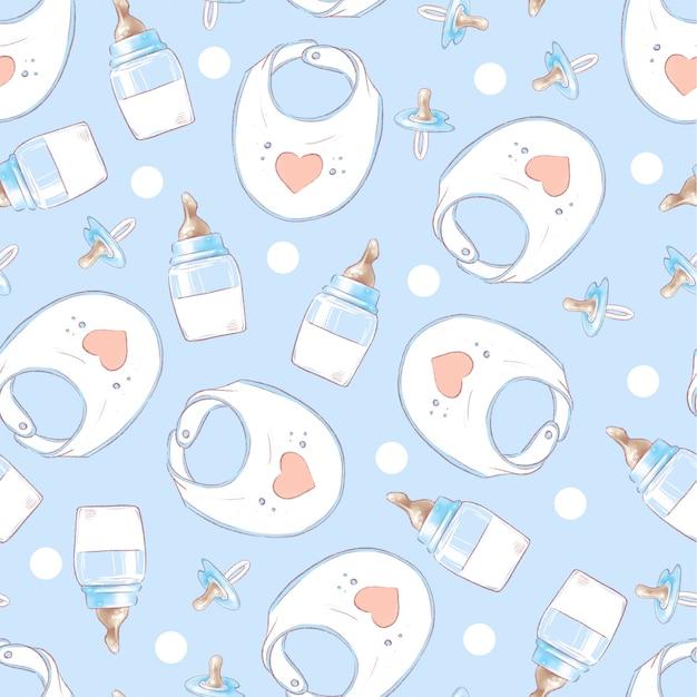 Nahtloses muster neugeborenen-babypartygeburtstag. handzeichnung Premium Vektoren