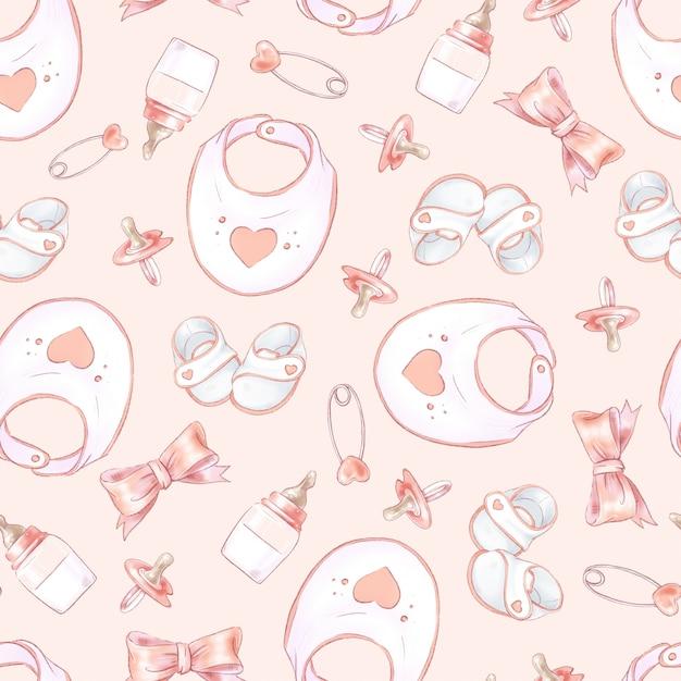 Nahtloses muster neugeborenen-babypartygeburtstag. Premium Vektoren