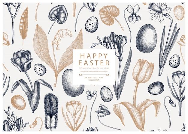 Nahtloses muster ostern. mit frühlingsblumen, vogelfedern, eiern und floralen elementen. hand gezeichnete botanische illustrationen. ostereinladung oder grußkartenschablone. Premium Vektoren