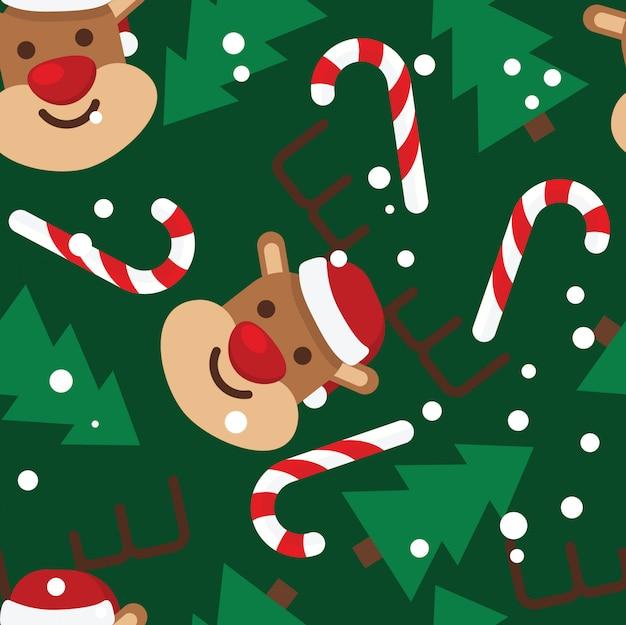 Nahtloses muster, rehe, weihnachtsbäume, schnee, zuckerstangen Premium Vektoren