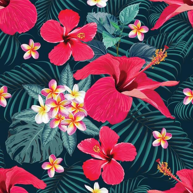 Nahtloses muster roter hibiscus und frangipani blüht zusammenfassung. vektor-illustration handzeichnung. Premium Vektoren