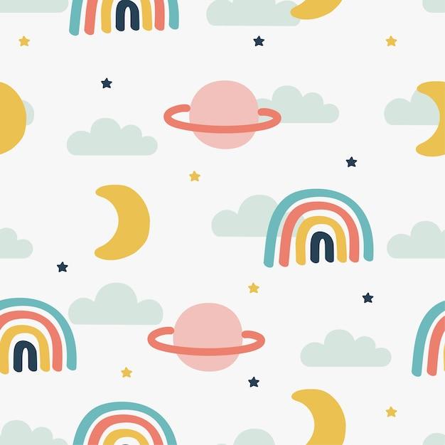 Nahtloses muster sonne, regenbogen und wolken. kawaii tapete auf weißem hintergrund. baby süße pastellfarben. Premium Vektoren