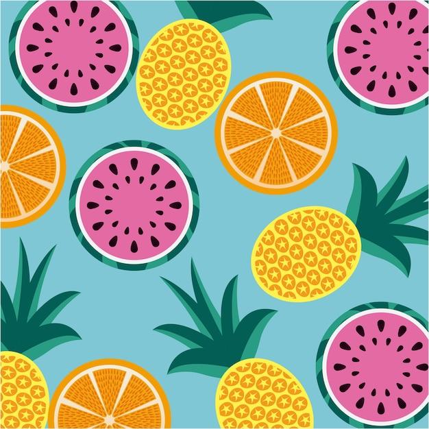 Nahtloses muster trägt ananas orange und wassermelone früchte Premium Vektoren