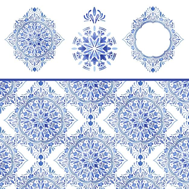 Nahtloses muster und dekorationen des blauen damastaquarells Premium Vektoren