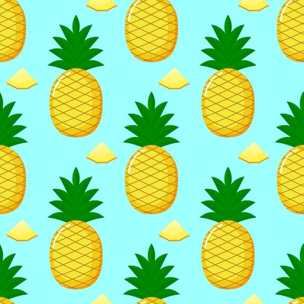 Nahtloses muster und scheiben der ananas. sommerfruchtsommer auf blauem hintergrund. Premium Vektoren