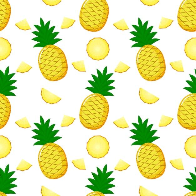 Nahtloses muster und scheiben der ananas. sommerfruchtsommer auf weißem hintergrund. Premium Vektoren
