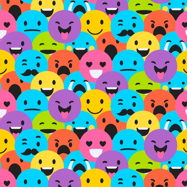 Nahtloses muster verschiedener smiley-emoticons Kostenlosen Vektoren