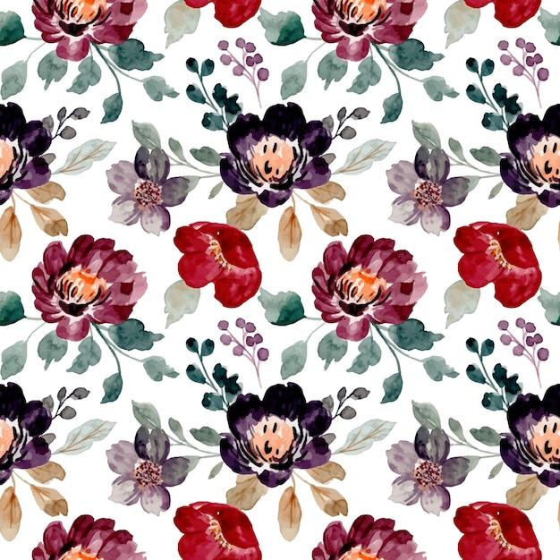 Nahtloses muster von aquarell-burgunderblumen Premium Vektoren