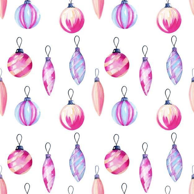Nahtloses muster von aquarell weihnachtsdekorationen Premium Vektoren