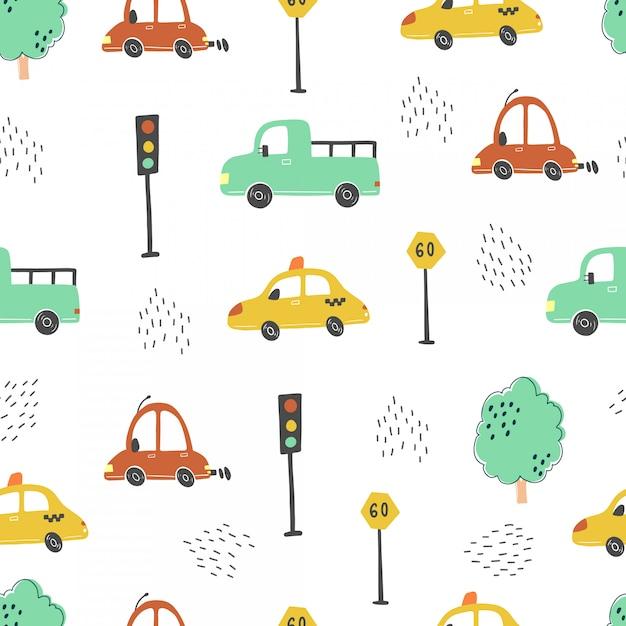 Nahtloses muster von babyautos im cartoon-stil. illustration. Premium Vektoren