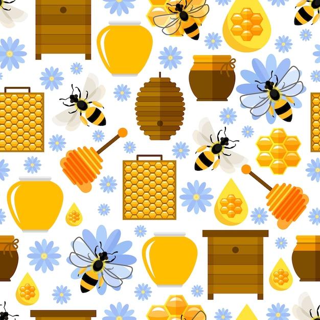 Nahtloses muster von blumen, bienen und honig Kostenlosen Vektoren